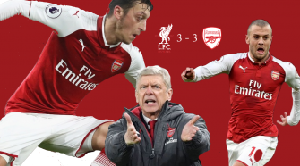 Ozil, Wenger, Wilshire against Liverpool 22 dec 2017